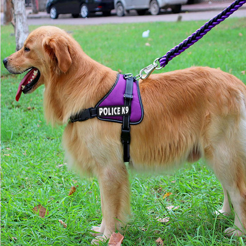 Concave Breast strap Elastic vest Harnesses Traction rope walk the dog POLICE X9 prints Pet For Medium large Dogs High Quality