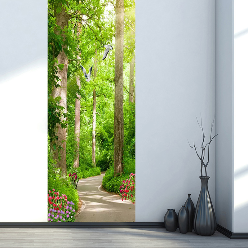 3D Wall Door Sticker Green Forest Path Landscape Wallpaper Living Room Bedroom Home Decor Paste PVC Self-Adhesive 3D Door Decal