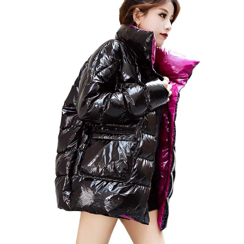 hip hop oversized women's coat winter Warm Glossy jacket women plus size harajuku outerwear varnished down jacket women's parka