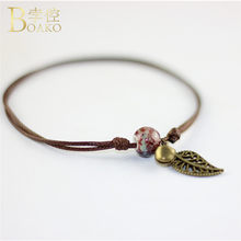 New Ceramic Beads Girl Ankles Hollow Leaf Pattern Leg Bracelets For Women Bells Coffee Weave Strap Rope Chains Bohemia Ankles R5(China)