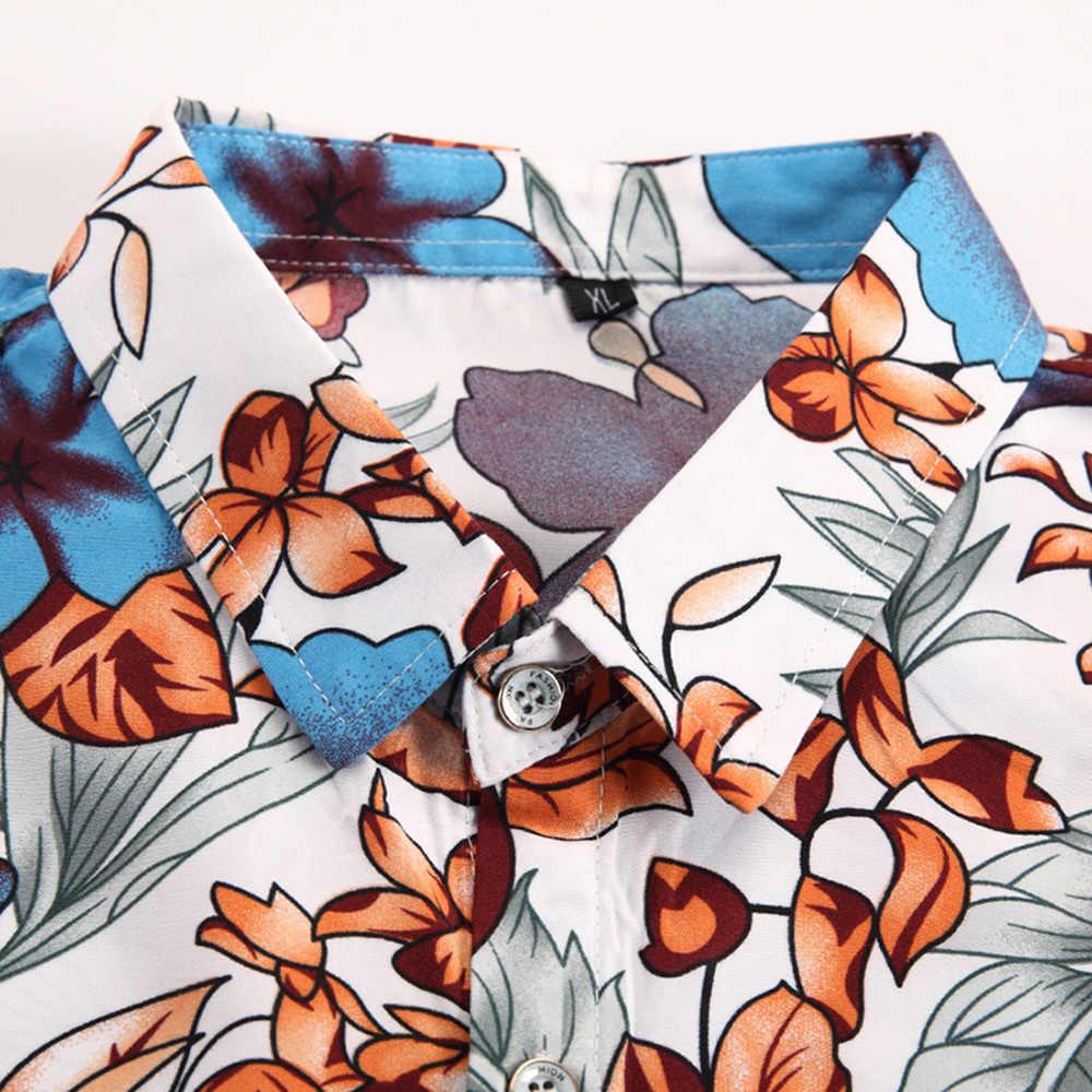 2018 модная мужская Гавайская пляжная рубашка с коротким рукавом летние повседневные шорты с цветочным принтом Мужские размеры для Азии 76xl 7XL