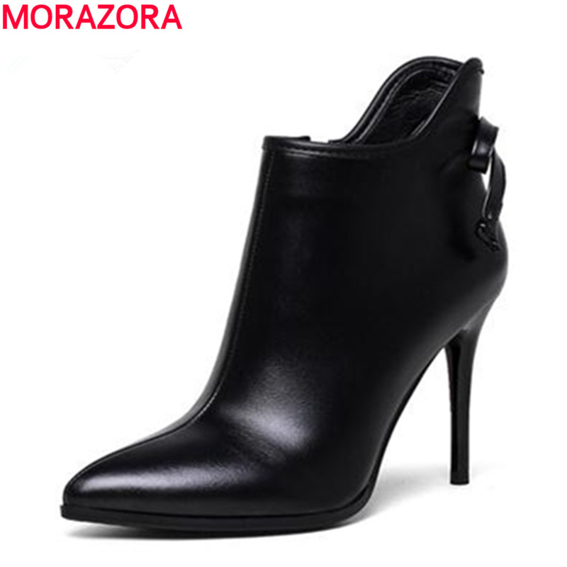 MORAZORA 2018 New ankle boots work party shoes genuine leather boots high thin heels autumn boots bowtie pointed toe
