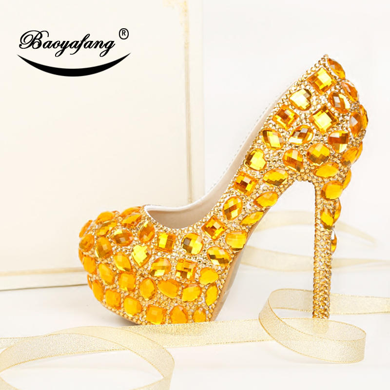 BaoYaFang Gold crystal wedding shoes High heels platform shoes Ladies Paty Dress shoes insole woman Pumps big size female shoe