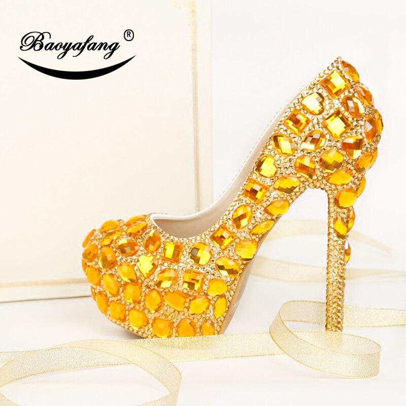 Robe Cristal De forme Paty Semelle 11cm Mariage Grande Chaussures Plate Dames Femme Shoe Shoe Shoe Or 8cm 14cm Hauts Talons Baoyafang Pompes Taille k8n0PXNwO