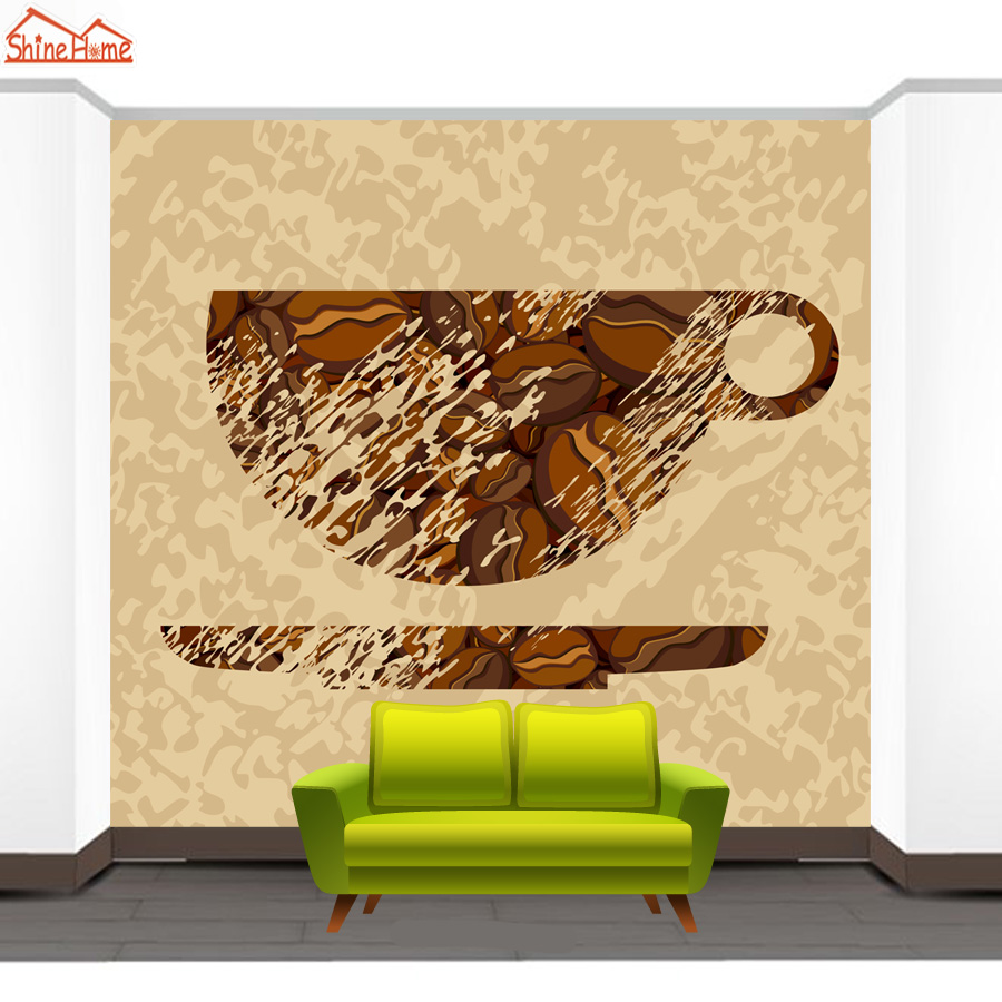 ShineHome Classical Tea Cup Sketch Retro 3d Art Photo Wallpaper for ...