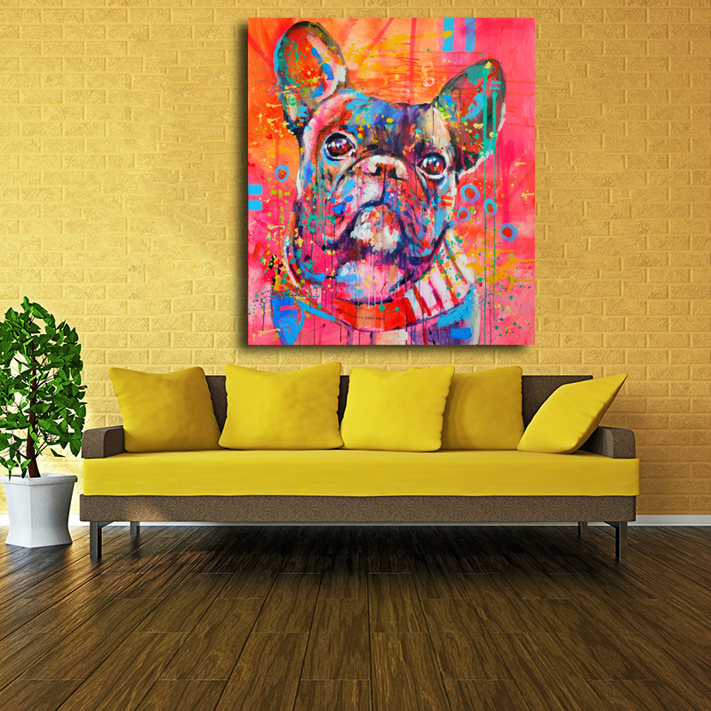 Indah Kartun Hewan Canvas Art Print Lukisan Lucu cat air Anjing - Dekorasi rumah - Foto 4
