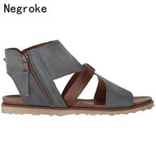 Women Sandals Retro Flats Sandals For Women Summer Shoes 2019 New Open Toe Casual Beach Shoes Woman Zip Sandalia Feminina