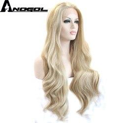 Anogol Hohe Temperatur Faser Natürliche Lange Körper Welle Freies Teil Platin Blonde Synthetische Spitze Vorne Perücke Für Weiße Frauen