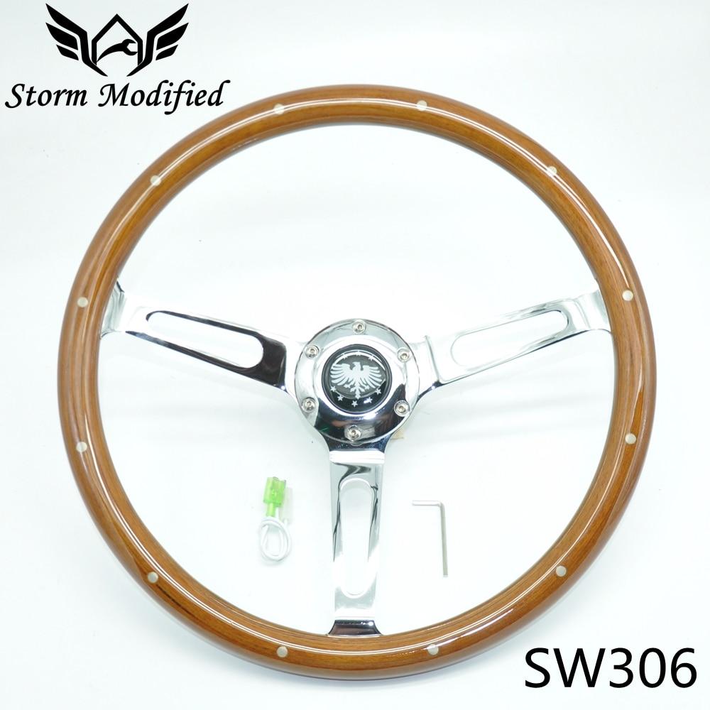 SuTong العالمي الكلاسيكية الحقيقي الماهوجني الخشب عجلة القيادة مع برشام 380 مللي متر 15 بوصة عجلة توجيه سيارة ل سيارة العتيقة SW306