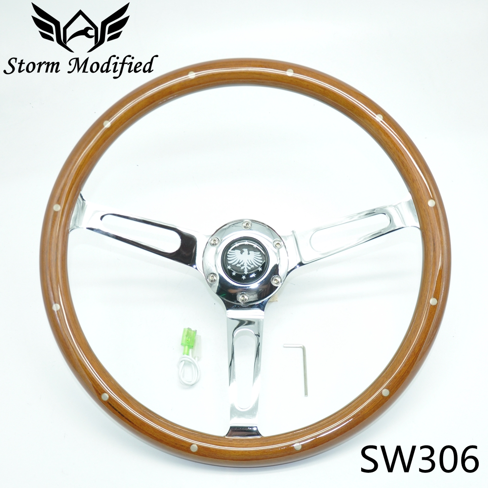 SuTong Universal Classic Real Mahogany Wood Steering Wheel with Rivet 380mm 15 inch Car Steering Wheel For Antique Car SW306