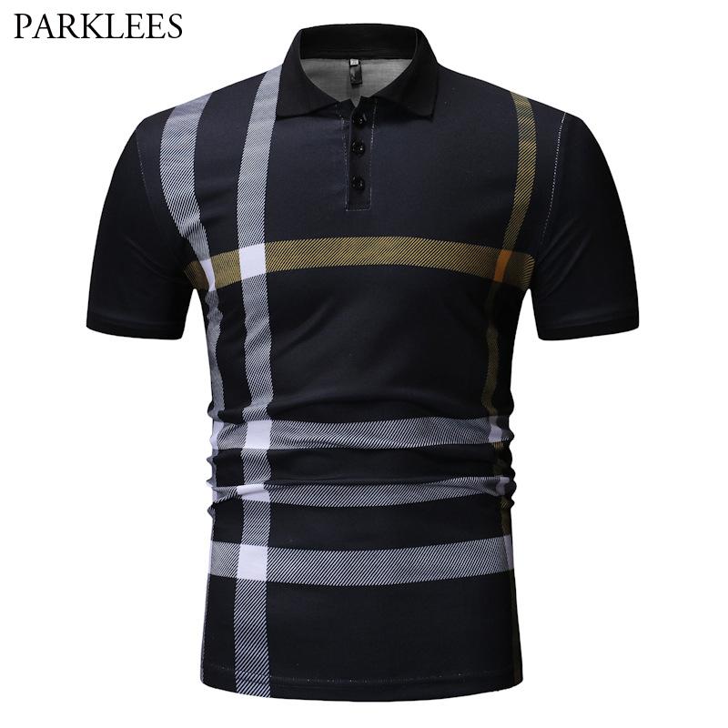 Mens Black   Polo   Shirts 2019 Short Sleeve Turn Down Collar Male Striped   Polos   Hip Hop Streetwear Tops Camisas   Polo   Masculina XXXL