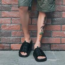b560822ba1aaa YOUYEDIAN summer flip flops Mens Flats One-Word Drag Beach Shoes Non-Slip  Breathable