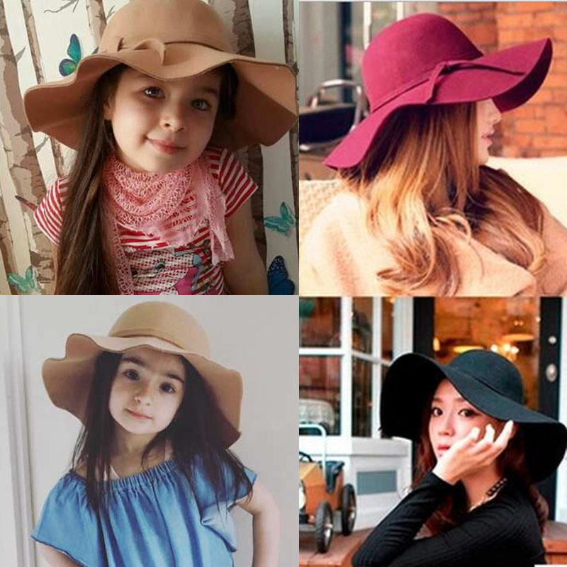 Casual Women Hat Cap Round Solid Felt Brim Outdoor Beach Gift Lady Soft Lovely