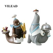 VILEAD 28cm 34cm Resin Sea Lion Dolphin Chef Figurines Marine Animal Models Shop Restaurant Home Decoration Accessories Ornament