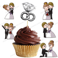 30pcs Set Wedding Cupcake Topper Muffin Cake Baking Bride And Groom Toppers Wedding Party Decoration Supplier