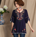 Vintage Mexican Ethnic Floral Embroidery Women Blouse BOHO Hippie Women Blouse Blusas Femininas Roupas 4 Color Tops