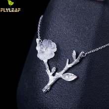 Женское колье с подвеской в виде цветка сливы из серебра 100%