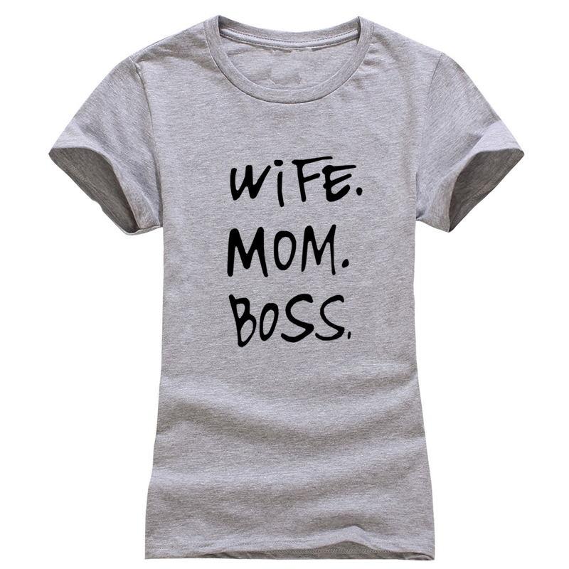 HTB1REKJQpXXXXXPXpXXq6xXFXXXD - Women's T-Shirts WIFE MOM BOSS Clothes Tee Shirt