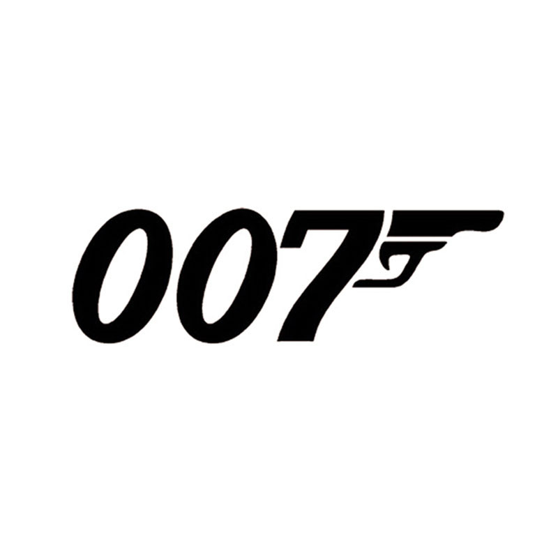 22*7CM JAMES BOND 007 Reflective Fun Car Stickers And Decals Car Styling Black/Silver C1-0044