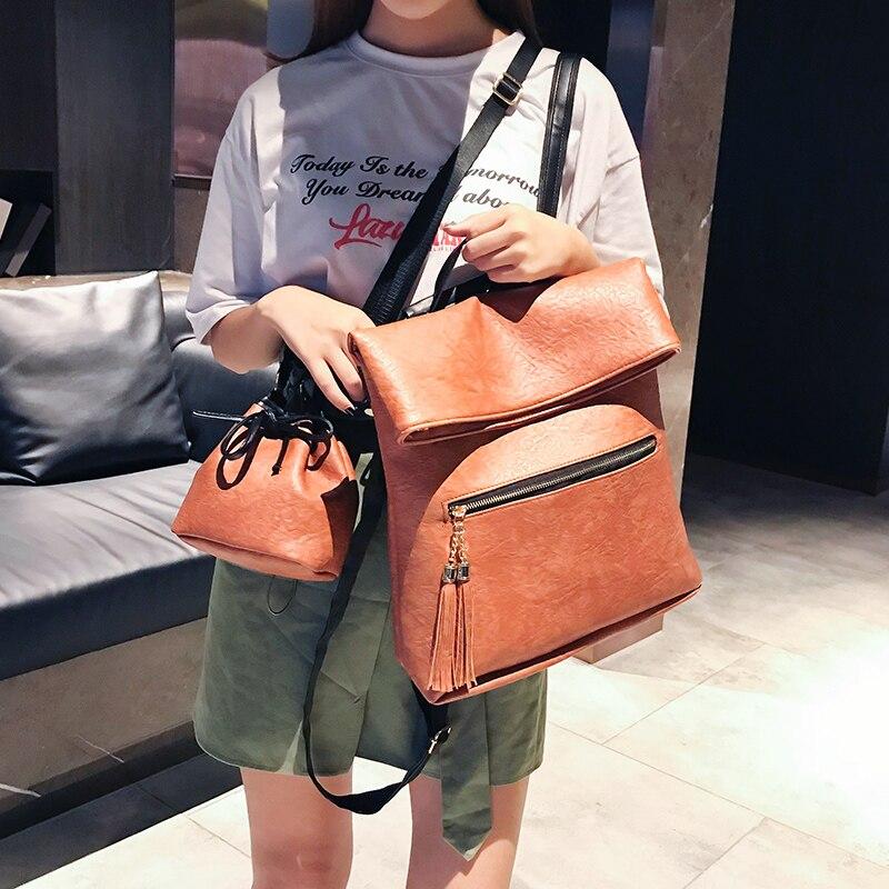 2 PCS/SET Vintage Backpack Women PU Leather Backpacks With Shoulder Bag School Bags For Teenagers Black Female Mochila