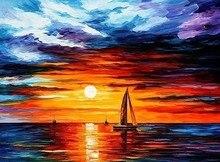 أعلى جودة الملونة الكلاسيكية عد عبر الابره عدة السفينة الشراعية على المحيط الغروب الشروق النفط اللوحة