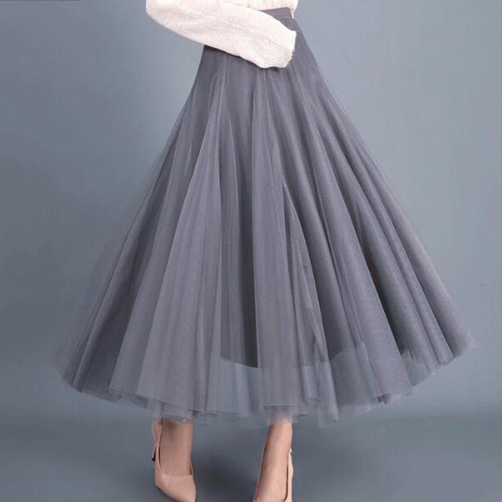 Lolita Style Grey Long Tulle Skirt Female Party Pleated Tutu Skirts Womens Petticoat Bridesmaids Vintage Skirt Jupe Saias Faldas