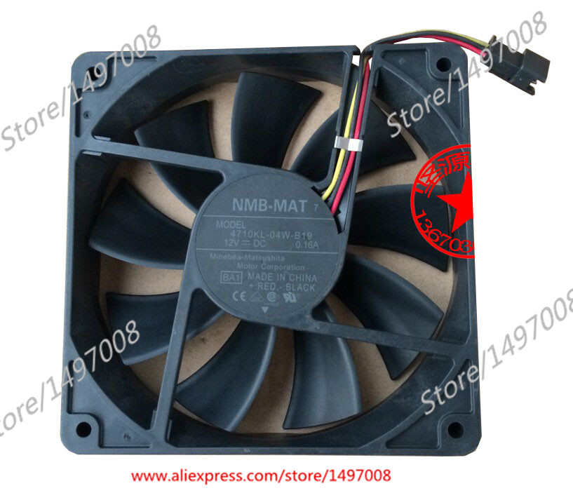 Free Shipping For NMB  4710KL-04W-B19, BA1  DC 12V 0.16A 3-wire 3-pin connector 50mm 120X120X25mm Server Square fan free shipping for delta afc0612db 9j10r dc 12v 0 45a 60x60x15mm 60mm 3 wire 3 pin connector server square fan