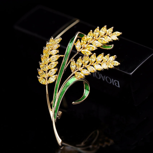luxury jewelry accessory Korean jewelry colorful cubic zirconia tree branch leaves brooches pin fashion lady brooch HR03958
