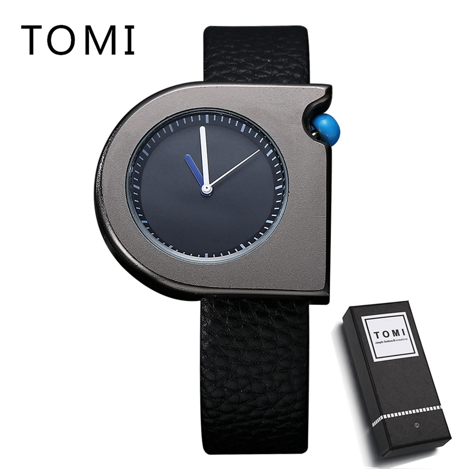 Tomi Hot Sale Brand Men Women Fashion Casual Sport Leather Wristwatches Dress Men's Black Gift Quartz Clock Watch For Gift T005