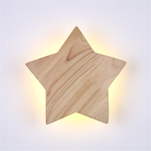 Thrisdar Nordic Wooden Bedside LED Wall Lamp 19CM 22CM Star Shape Light Bedroom Corrdior Step Background
