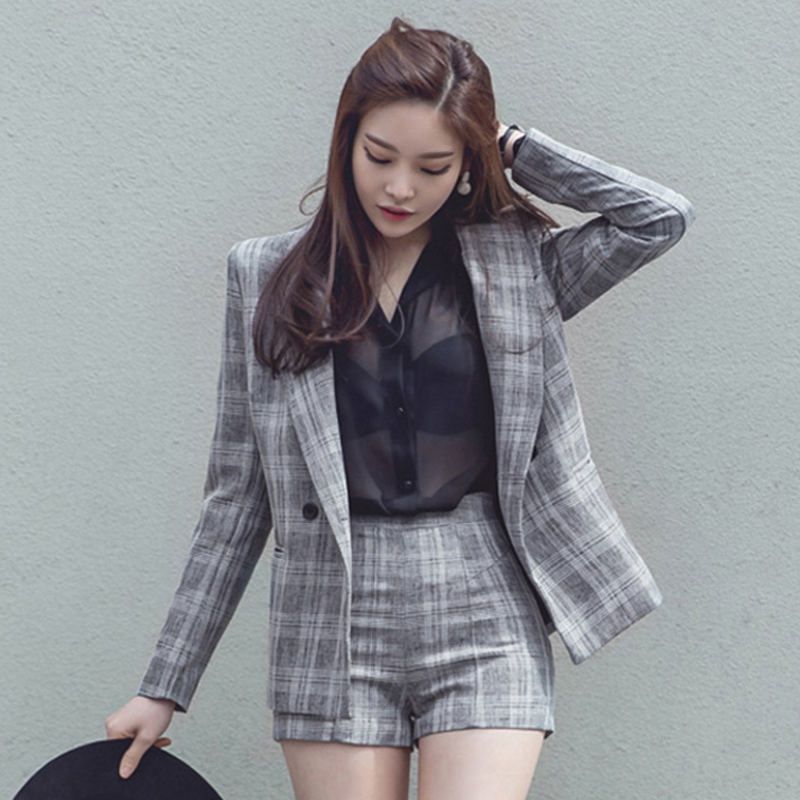2018 Office Lady Elegant Plaid Short Pant Suits Autumn 2 Piece Outfits Women Notched Jacket Blaze