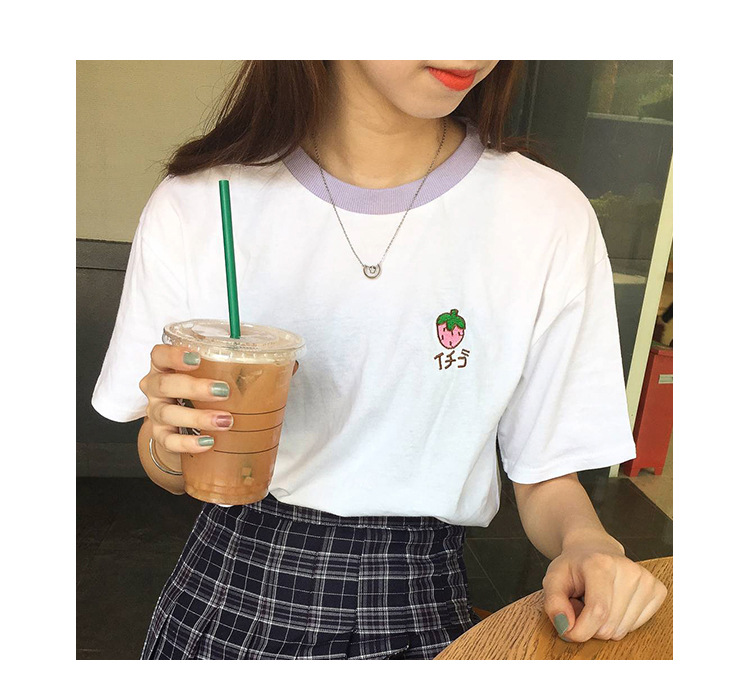 HTB1REL3RpXXXXb4XFXXq6xXFXXXM - Cotton Fresh Sweet Simple Regular Summer Fruit Embroidered College Wind Patchwork Loose Cotton Short Sleeve Female T-shirts