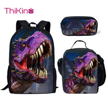 Thikin Casual Jurassic World Dinosaur School Bags 3pcs/set for Teenagers Backpack Cartoon Pattern Bookbag Lovely Satchel