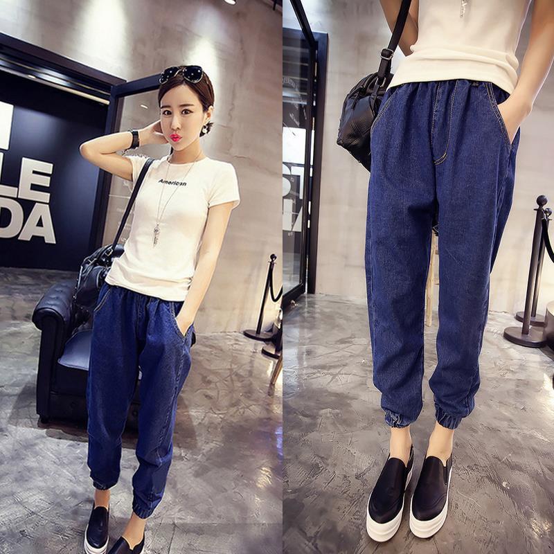 2017 Fashion Autumn Fashion Pants Outfit Newn Thin Nine Points Jeans Pockets Female Haren Pants Plus Sizes цены онлайн
