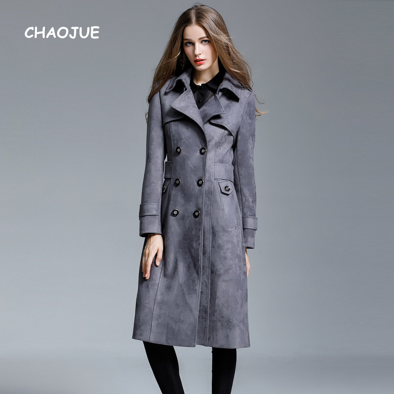 Chaojue Brand Extra Long Suede Trench Coat For Women 2018 Fall