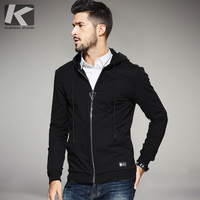 KUEGOU New Autumn Mens Casual Hoodies Patchwork Zipper Black Brand Clothing For Man S Slim Hooded