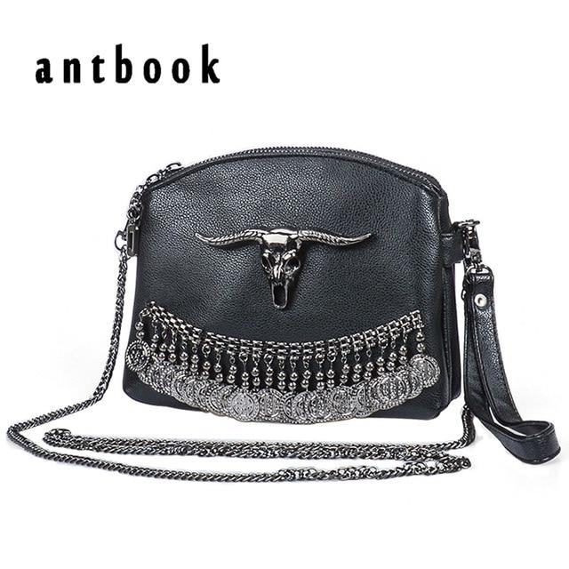 2017 Punk Designer Women tassel skull Chain Bag PU Leather solid color Messenger Bag Fashion Vintage Women Shoulder Bag Handbag