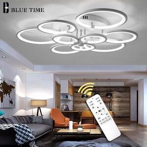 Image 3 - White&Black Modern LED Chandelier Lustre For Living Room Light Bedroom Dining room Acrylic Ceiling Chandelier Lighting Luminaire