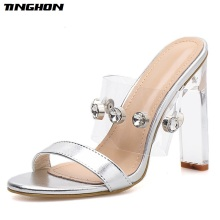 TINGHON Summer Women Classic PVC Diamond Sexy Transparent Ladies Slipper Square Heel Round Toe Shallow Slippers Size 35-40
