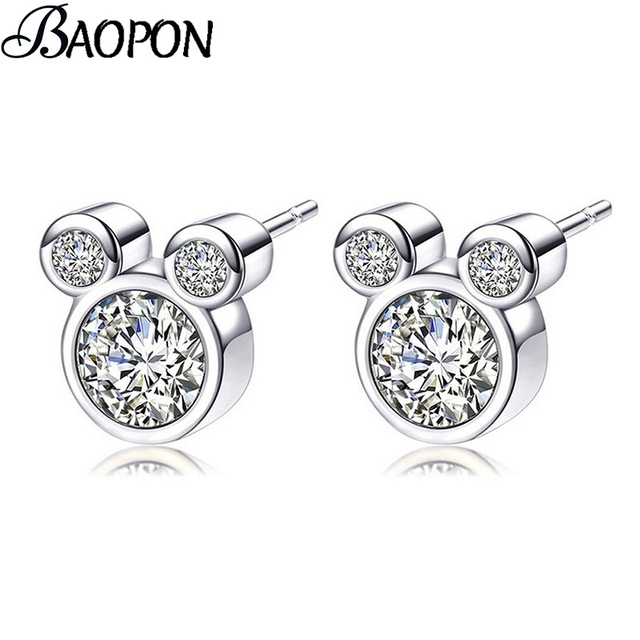 af8487fd69 US $0.77 48% OFF|BAOPON 2019 Presents Silver Color Mickey Pandora Stud  Earrings Sparkling Minnie Earrings For Women Kids Girls Fashion Jewelry-in  Stud ...