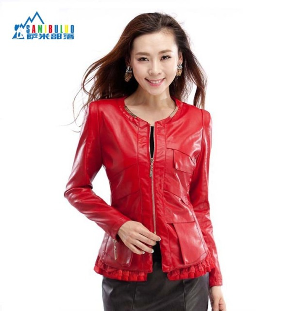 New 2014 New Women lace PU Leather Jackets, Black Ladies short Slim Leather coat Plus Size M L XL 2XL 3XL 4XL