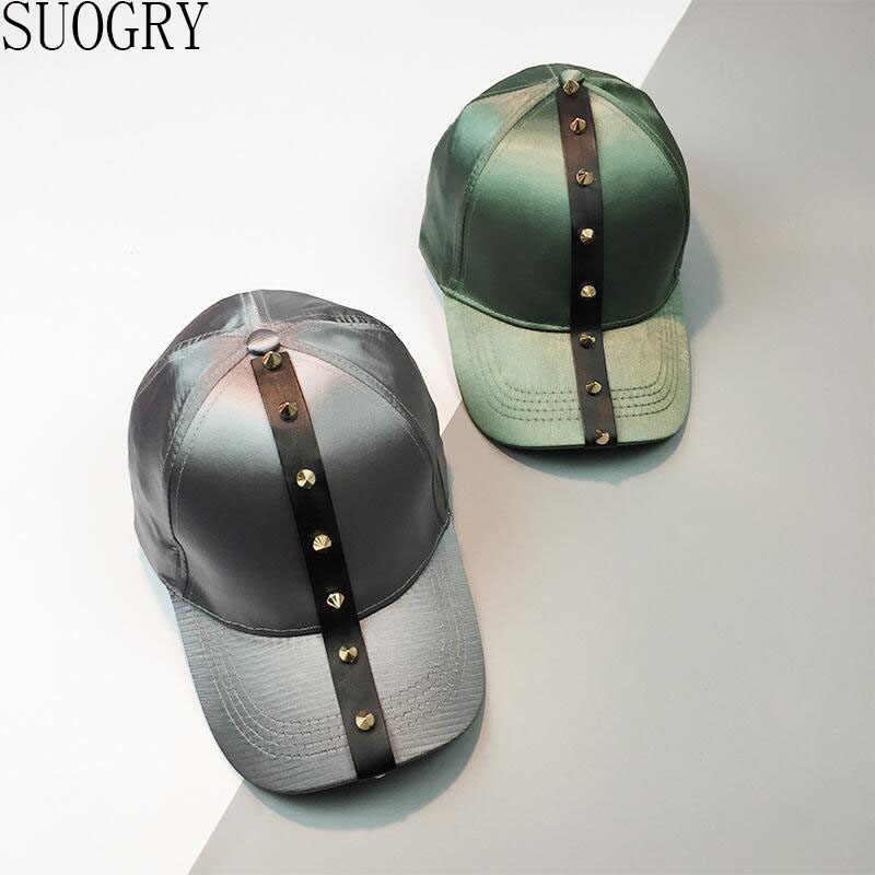 329b0fc63c7 SUOGRY 2017 New Fashion Punk Rivets Hip Hop Caps Female Solid Spring Summer  Sun Hats for