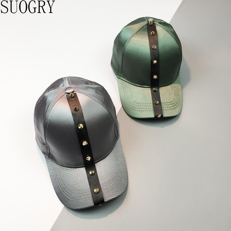 SUOGRY 2017 New Fashion Punk Rivets Hip Hop Caps Female Solid Spring Summer Sun Hats for Women Bone Snapback Baseball Caps Men cntang brand summer lace hat cotton baseball cap for women breathable mesh girls snapback hip hop fashion female caps adjustable