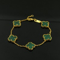 Top Quality Brand Logo Green Clover Shell Black Onyx Bead Bracelet Natural Stone Gold Color Five