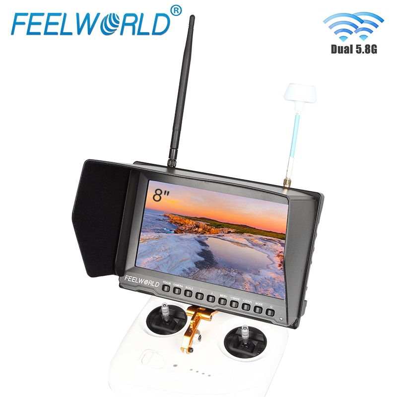 Feelworld FPV821 8 Inch FPV Monitor with Built-in Battery Dual 5.8G 32CH Diversity Receiver 8 Wireless Drone UAV LCD Monitor feelworld fpv1032 10 1 wireless 5 8g 32ch drone rc rf receiver fpv monitor hdmi