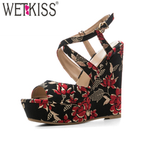 WETKISS Cross Strap Summer High Heels Women Sandals Wedges Peep Toe Printing Buckle Footwear 2018 Fashion
