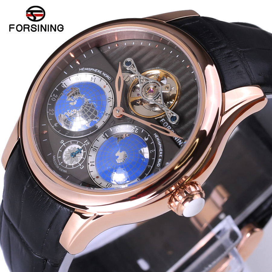 FORSINING Top Brand Tourbillon Automatic Wrist Watch 3D Earth Dial Leather Band Business Mechanical Watches Men 30M Waterproof forsining brand trendy automatic mechanical watches men skeleton dial stylish dress wristwatches with leather band