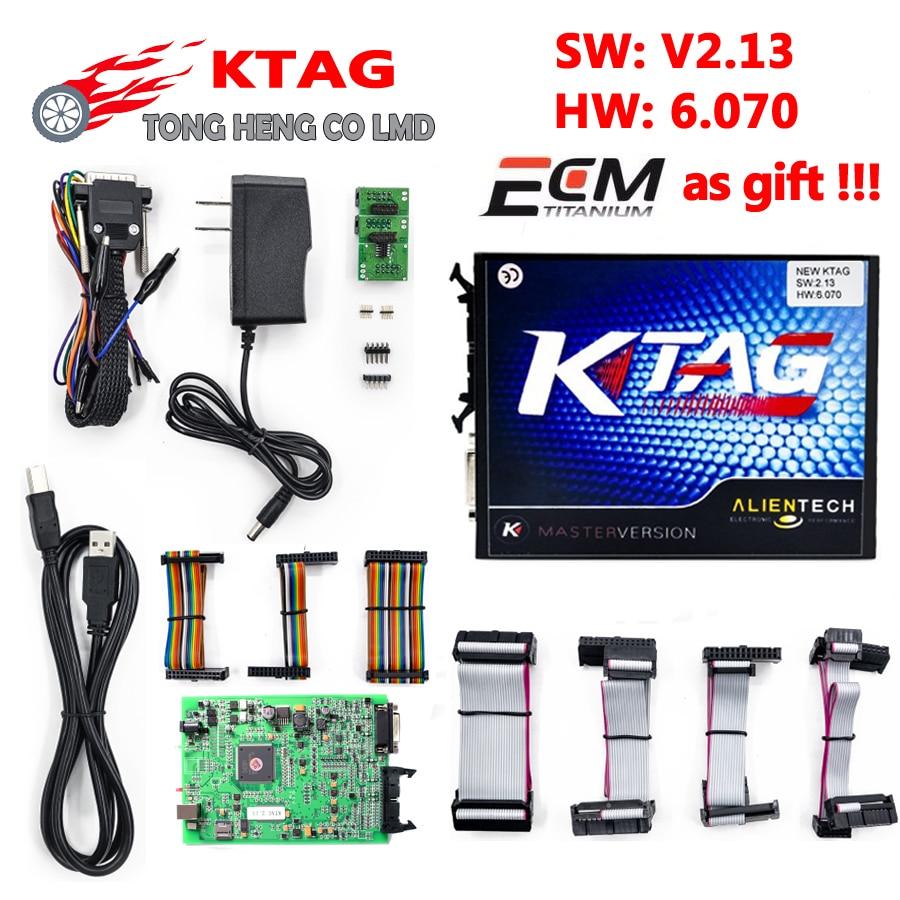 Цена за Лучшие Ktag К-TAG V2.13 Прошивки 6.070 бесплатная ECM Titanium программное обеспечение!!! к TAG ECU Чип Tunning Нет Ограничения Маркеров K ТЕГ 2.13 K тег