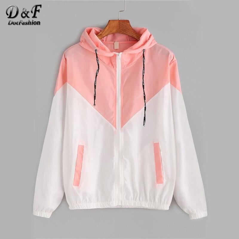 ff185abff54 Dotfashion цвет блок контраст шнурок с капюшоном на молнии розовая куртка  женская Повседневное пальто 2019 осенняя
