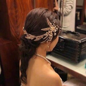 Image 5 - Korean Handmade Yarn Brides Headbands Rhinestone Soft Flower Bridal Hairbands Wedding Hair Accessories Evening Headdress